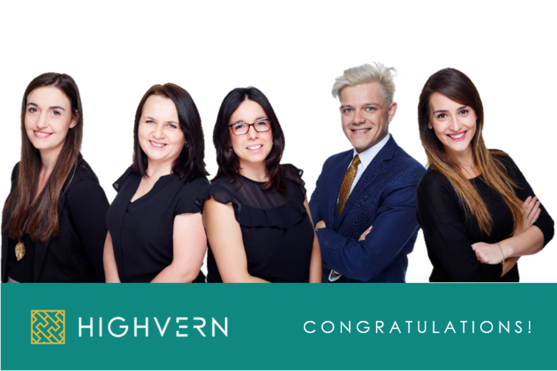 Highvern announce the promotion of 5 talented individuals